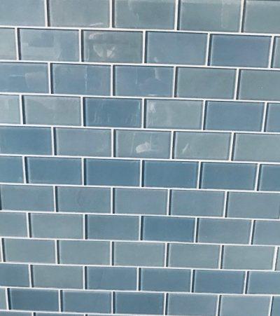 Blue Gl Subway Tile Surface Work